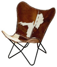 BKF Star Design White Brown Leather Butterfly Arm Chair  AA Leather Armchair