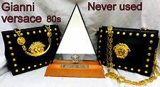 GIANNI VERSACE Never Used 80s vintage RARE large medusa leather Bag Lady Gaga