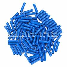 100 Blue 16-14 AWG Gauge Butt Splice Joiner Connector Insulated Crimp Terminal