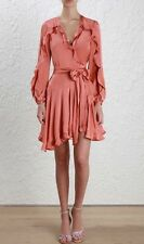 Zimmermann Winsome Flutter Robe Silk Dress Guava AUS 0 US 0-2 New With Tags