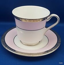 Mary Kay Tea Cup and Saucer Set 40th Ann Pink and White Platinum Encrusted 8 oz