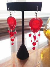 VALENTINE'S DAY Dunlop Big Stubby RED Guitar Pick EARRINGS Dangling HEARTS Nice!