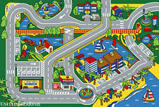 3x5  Area Rug Play Harbor Road Driving Around  Port  Kids City Fun Time  Newport