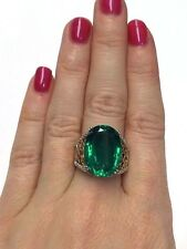 Fabulous! Large Oval Emerald Doublet Wide Sterling Silver Silver Ring Size 6.5