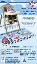 1st BIRTHDAY NAUTICAL HIGH CHAIR DECORATING KIT (4pc) ~ Party Supplies Hat Bib