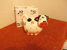 "VINTAGE (NEW) CERAMIC 4.5"" COW BANK with CASH DESIGN"