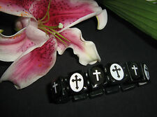 Black & White Cross Wooden Elasticated Icon Bracelet    goth / pirate