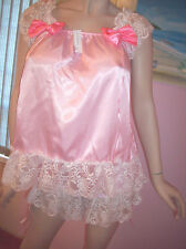 PRETTY BABY DOLL PINK SATIN SISSY DRESS AND PANTY SIZE L