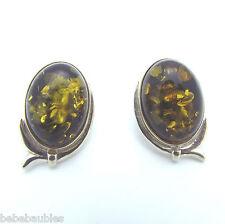 Baltic Sea Amber .925 Sterling Silver Earrings Pierced Post Oval Shape NEW