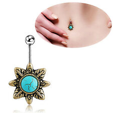 Retro Fancy Turquoise Belly Button Navel Bar Ring Body Piercing Barbell Gift