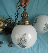 VTG HANGING LIGHT FIXTURE SWAG DOUBLE GLOBE FLORAL MID CENTURY MODERN ART DECO