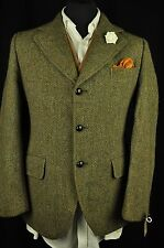 "Vtg Dunn & Co Harris Tweed Country Green Tailored Hacking Jacket 38"" Short #620"