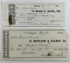 Antique Checks, Nelson French - For Harpers Weekly & Milk Bill, Newbury NY 1860s