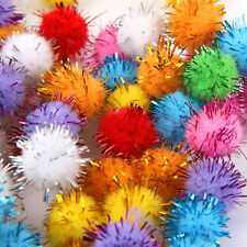 100Pcs Mini Sparkly Glitter Tinsel Pompom Balls Small Pom Ball for Dog Cat Toys