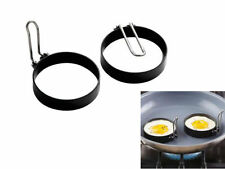 Set Of 2 Iron Egg Rings Non Stick With Folding Handles Fried Or Poached Egg