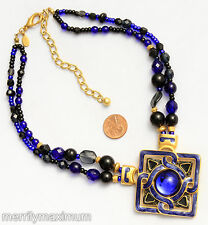 Chico's Signed Necklace Gold Tone Cobalt Blue Enamel Beads & Cabochon Pendant