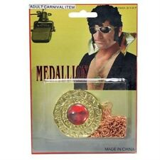 70's Disco Elvis Gold Disc Red Stone Medallion Fancy Dress Necklace P5720