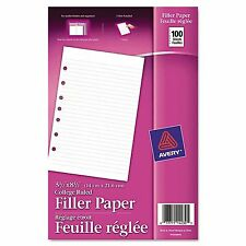 "Avery Mini Binder Filler Paper College Ruled 8 1/2"" x 5 1/2"" 100 Sheets - New"