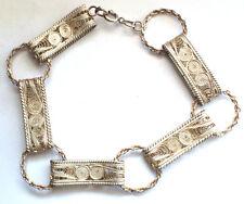 Stunning Filigree Designer 925 Sterling Silver Bracelet Gold Plated Link Chain