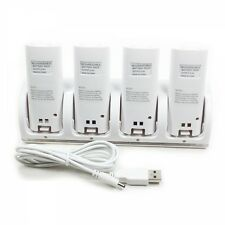 4x 2800mAh Battery + Charger Dock Stand Station for WII Remote White