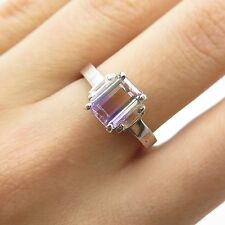 925 Sterling Silver Real Ametrine Gemstone Ring Size 7