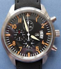 MINT/NOS PARNIS Military Dial CHRONOGRAPH SS gents watch-2010/15+ original strap