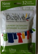 DIZOLVE WASHING POWDER SHEETS 32 WASHES FRAGRANCE FREE ECO-STRIPS HYPOALLERGENIC