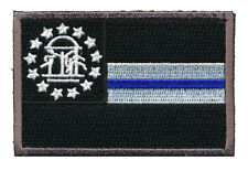 GEORGIA STATE FLAG THIN BLUE LINE POLICE TACTICAL SWAT HOOK PATCH