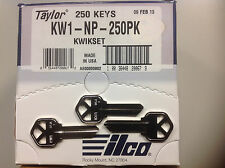 Key Blanks for Locksmith NP /Nickel / 250 Kwikset KW1 / Made by Ilco