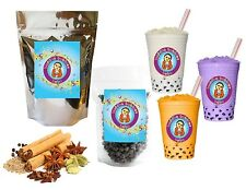 10+ Drinks Spiced Chai Bubble/ Boba Tea Kit: Tea Powder, Tapioca Pearls & Straws