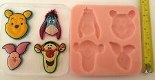 WINNIE THE POOH EEYORE TIGGER PIGLET SILICONE MOULD FOR CAKE TOPPERS, CLAY ETC