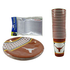 New NCAA Texas Longhorns 64 Paper Plates Cups Forks Party-Ware Supplies