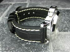 New BIG CROCO 24mm PANERAI Black LEATHER STRAP White Stitch watch Band 24
