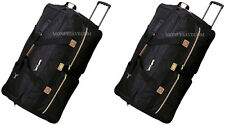 "Pack of 2, 36"" Black Rolling Duffle Wheeled Luggage Suitcase Travel Duffle Bag"
