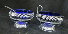Cobalt Blue Glass Sugar Bowl with Spoon and Creamer in Metal Holders England