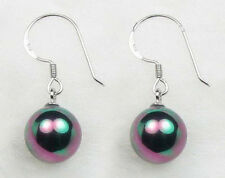 10 mm black South sea shell pearl and sterling silver hoop earrings