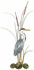 Small Great Blue Heron with Cattails Metal Wall Art Sculpture by Bovano W363R