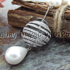 H072406 26'' White Round Pearl Necklace Sea Shell Pearl CZ Pendant