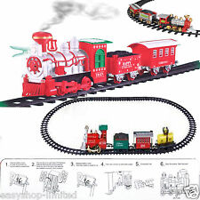 Christmas Holiday Express Festive Train Set Toys Track Light Sound & Smoke Xmas