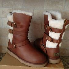 Ugg Becket Chestnut Water-resistant Leather Sheepskin Buckle Boots US 7 Womens