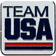Large Square White Team USA Official National Olympic Committee NOC PIN Undated