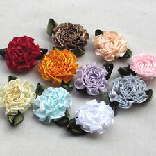 20pcs Satin Ribbon Bows Flowers Carnation Appliques sewing/craft/wedding lots
