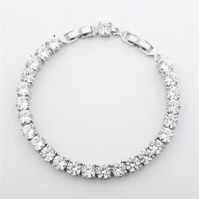 New White Gold Filled White Round Topaz Silver Women Hot Tennis Bracelet 8.1""