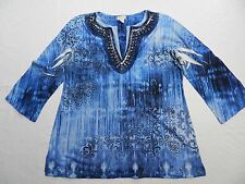 WOMENS beaded detail tunic SHIRT TOP BLOUSE = CHICO'S = SIZE 1 = (cs18)
