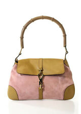 GUCCI Light Pink Tan Gold Tone Suede Leather Handbag