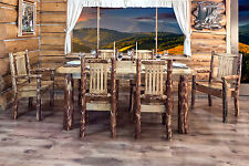 Rustic Kitchen Table Chairs Set LOG Dining Table (6) Chairs set Amish Handmade