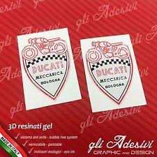 2 Adesivi Resinati Sticker 3D Ducati Meccanica Scudetto Bianco Nero Rosso 50 mm