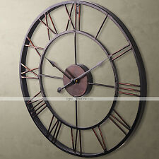 US STOCKVintage Style Metal Wall Clock Retro Home Roman Numeral House Decoration
