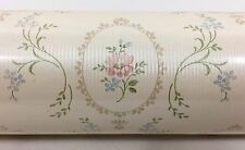 Vtg Pink Blue Flower Floral Wall Paper Borden Home Wallcoverings DOUBLE Roll NIP