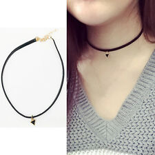 Retro Vintage Triangle Pendant Necklace Chocker Black PU Leather Cord Jewelry